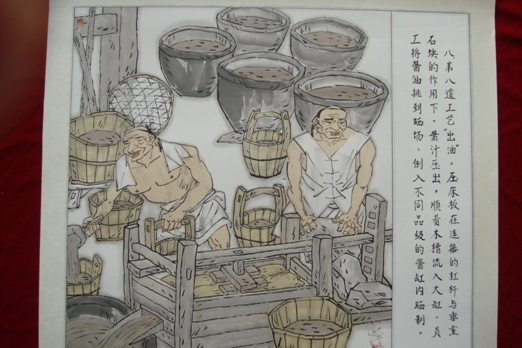 An artist's rendering depicts the traditional soy sauce-making process